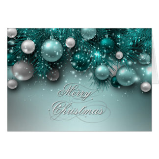 Christmas Holiday Ornaments - Teal - Customize Card
