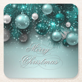 Christmas Holiday - Ornaments Teal Square Paper Coaster