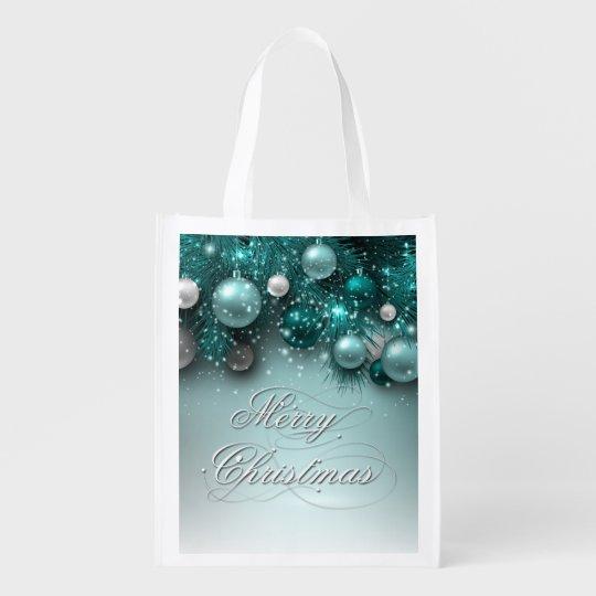 Christmas Holiday - Ornaments Teals Reusable Grocery Bag