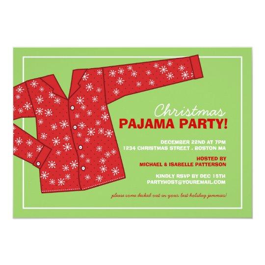 Christmas Holiday Pajama Party Invitation