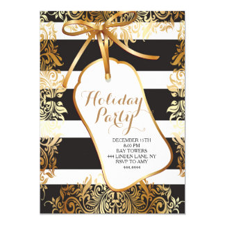 Christmas Holiday Party Gold Gift Tag Invitation