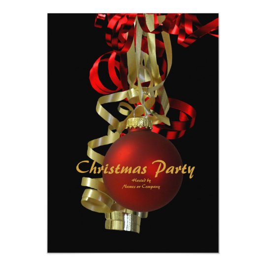 Christmas holiday party gold red elegant card