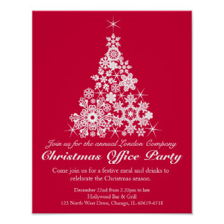Christmas holiday party tree red office poster