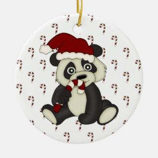 Christmas Holiday Peppermint Panda Bear ornament