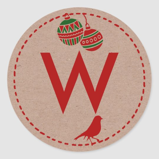Christmas Holiday Personalised Initial Classic Round Sticker
