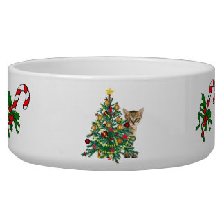 Christmas holiday pet bowl decorated cat food bowl