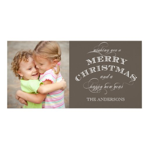 CHRISTMAS HOLIDAY PHOTO CARD TAUPE