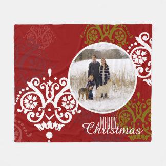 Christmas Holiday Photo Damask Pattern Fleece Blanket