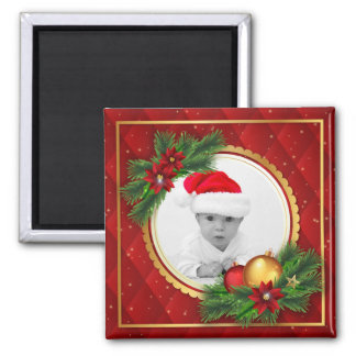 Christmas Holiday Photo Red Green Create Your Own Magnet