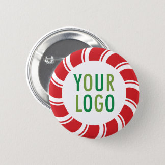 Christmas Holiday Pinback Button with Company Logo