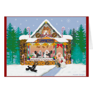 Christmas Holiday Poodle Gingerbread House Card