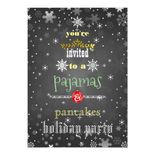 Christmas Holiday Pyjamas & Pancakes Family Party Card