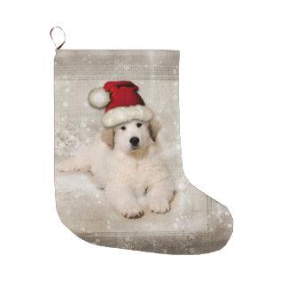 Christmas Holiday - Pyr Puppy Santa Hat Large Christmas Stocking