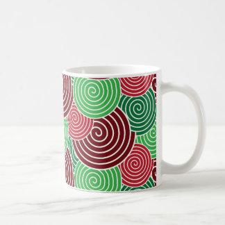 Christmas Holiday Red Green Spiral Pattern Basic White Mug