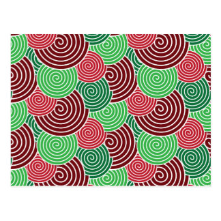 Christmas Holiday Red Green Spiral Pattern Postcard