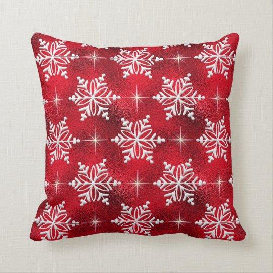 Christmas Holiday Red Snowflake Throw Pillow