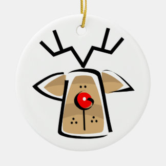 Christmas holiday reindeer face ceramic ornament