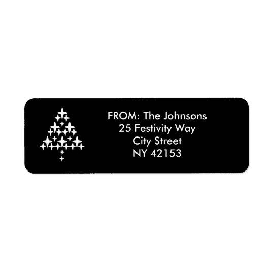 Christmas Holiday Return Address Labels - Black