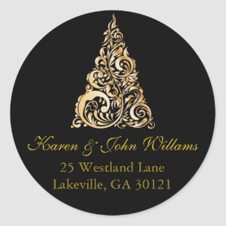 Christmas/Holiday Return Address Sticker Gold