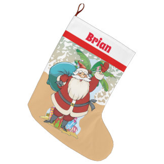Christmas Holiday Santa add text stocking
