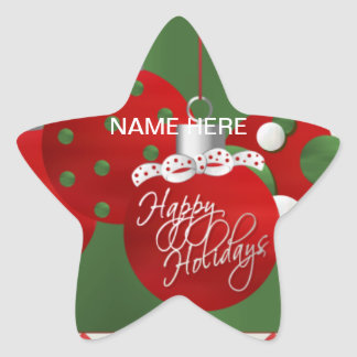CHRISTMAS Holiday SEAL Personalize Star Sticker