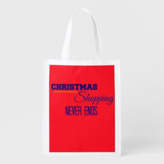 Christmas Holiday Shopping Reusable Bags Reusable