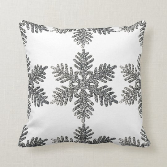 Christmas Holiday Silver Snowflake Star Design Cushion