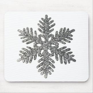 Christmas Holiday Silver Snowflake Star Design. Mousepad