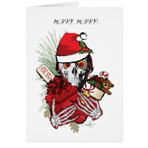 Christmas Holiday Skull Cards