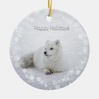 Christmas Holiday - Snow Fox with SnowFlakes Christmas Ornament