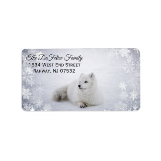 Christmas Holiday - Snow Fox with SnowFlakes Label