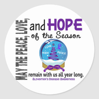 Christmas Holiday Snow Globe 1 Alzheimer's Disease Round Sticker