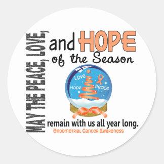 Christmas Holiday Snow Globe 1 Endometrial Cancer Round Sticker