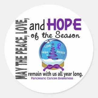 Christmas Holiday Snow Globe 1 Pancreatic Cancer Round Sticker