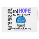 Christmas Holiday Snow Globe 1 Stomach Cancer Greeting Card