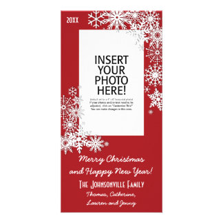 Christmas Holiday Snowflake - Red Photo Card