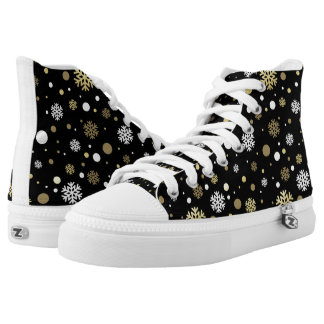 Christmas Holiday - Snowflakes Blk Background High Tops