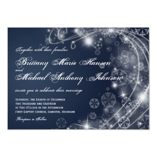 Christmas Holiday Snowflakes Blue Wedding Invites