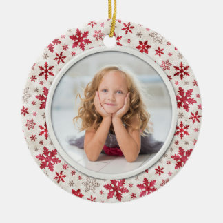 Christmas Holiday Snowflakes Multicolor Photo Christmas Ornament