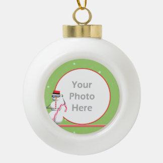Christmas Holiday Snowman Ceramic Ball Christmas Ornament