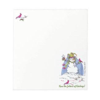 Christmas holiday snowman gift notepad