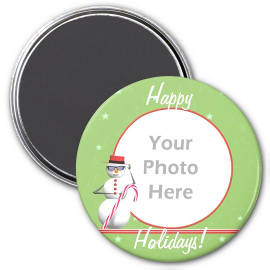 Christmas Holiday Snowman (round) (photo frame) 7.5 Cm Round Magnet