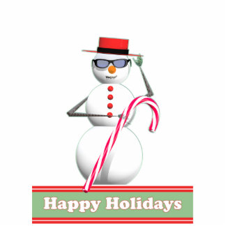 Christmas Holiday Snowman Standing Photo Sculpture