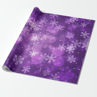 Christmas Holiday Sparkles & Snowflakes Purple Wrapping Paper