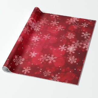 Christmas Holiday Sparkles & Snowflakes Red Wrapping Paper