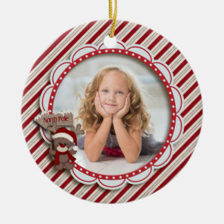 Christmas Holiday Stripes Red/Cream Photo Round Ceramic Decoration
