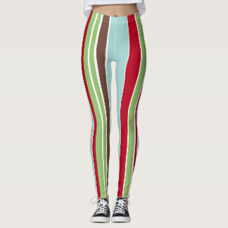 Christmas Holiday Stripes, Vintage-Inspired Colors Leggings