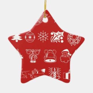 Christmas Holiday Symbols I Ceramic Star Ornament