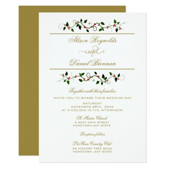 Christmas Holiday Traditional Wedding Invitation