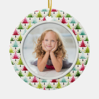 Christmas Holiday Trees Multicolor Photo Round Ceramic Decoration